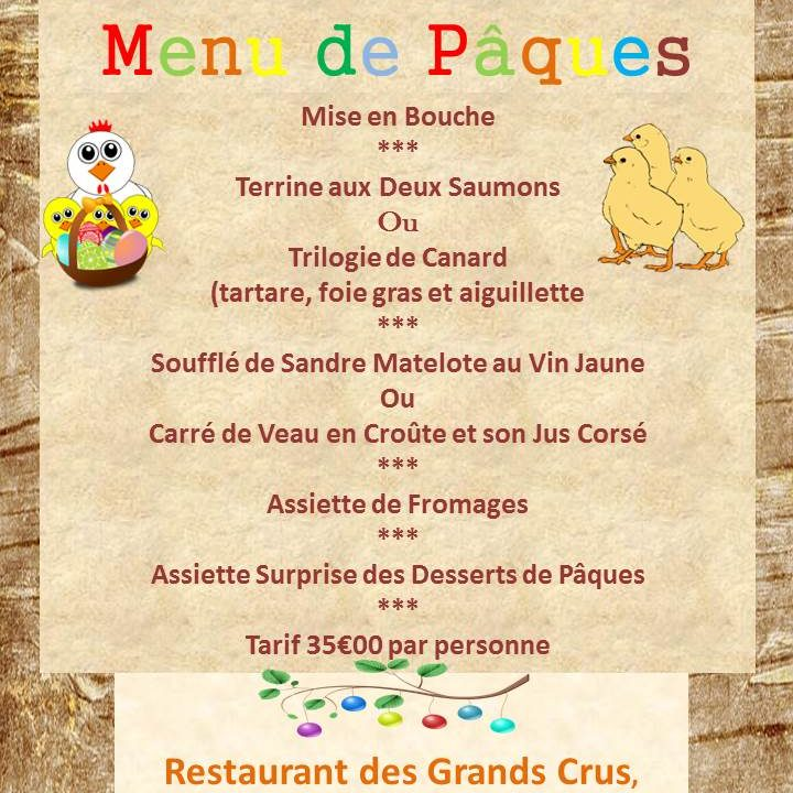 Restaurant menu de Paques Chalon sur Saône 2019