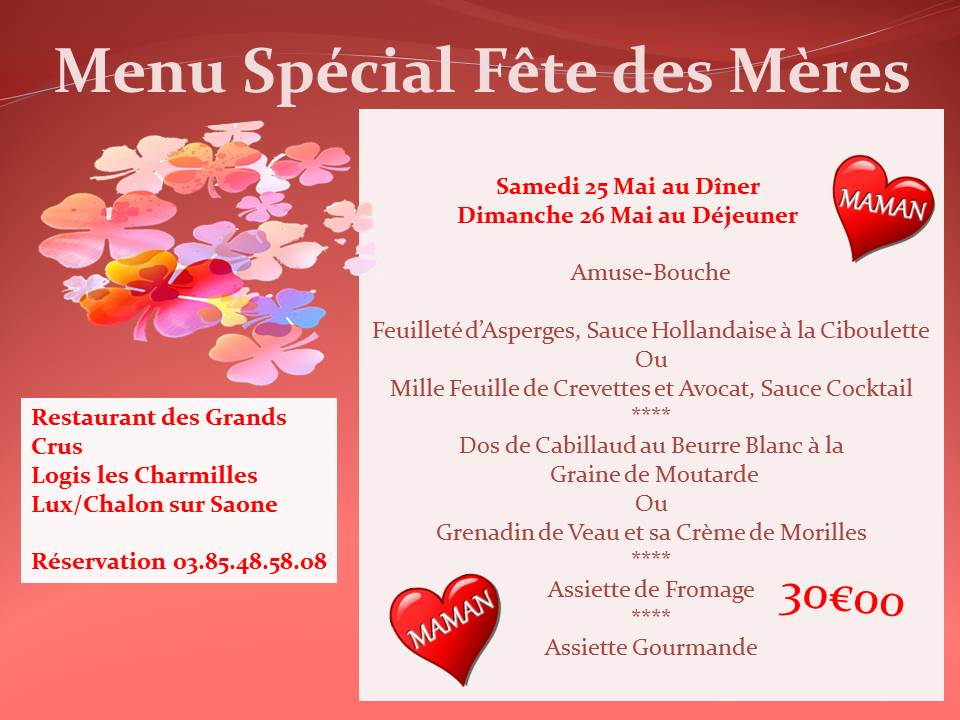 Menu Fêtes des Mères 2019 Chalon sur Saone